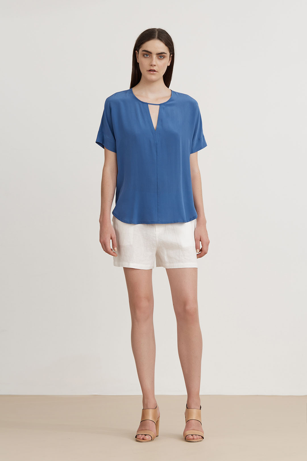 Triangle Silk Blouse - Blue