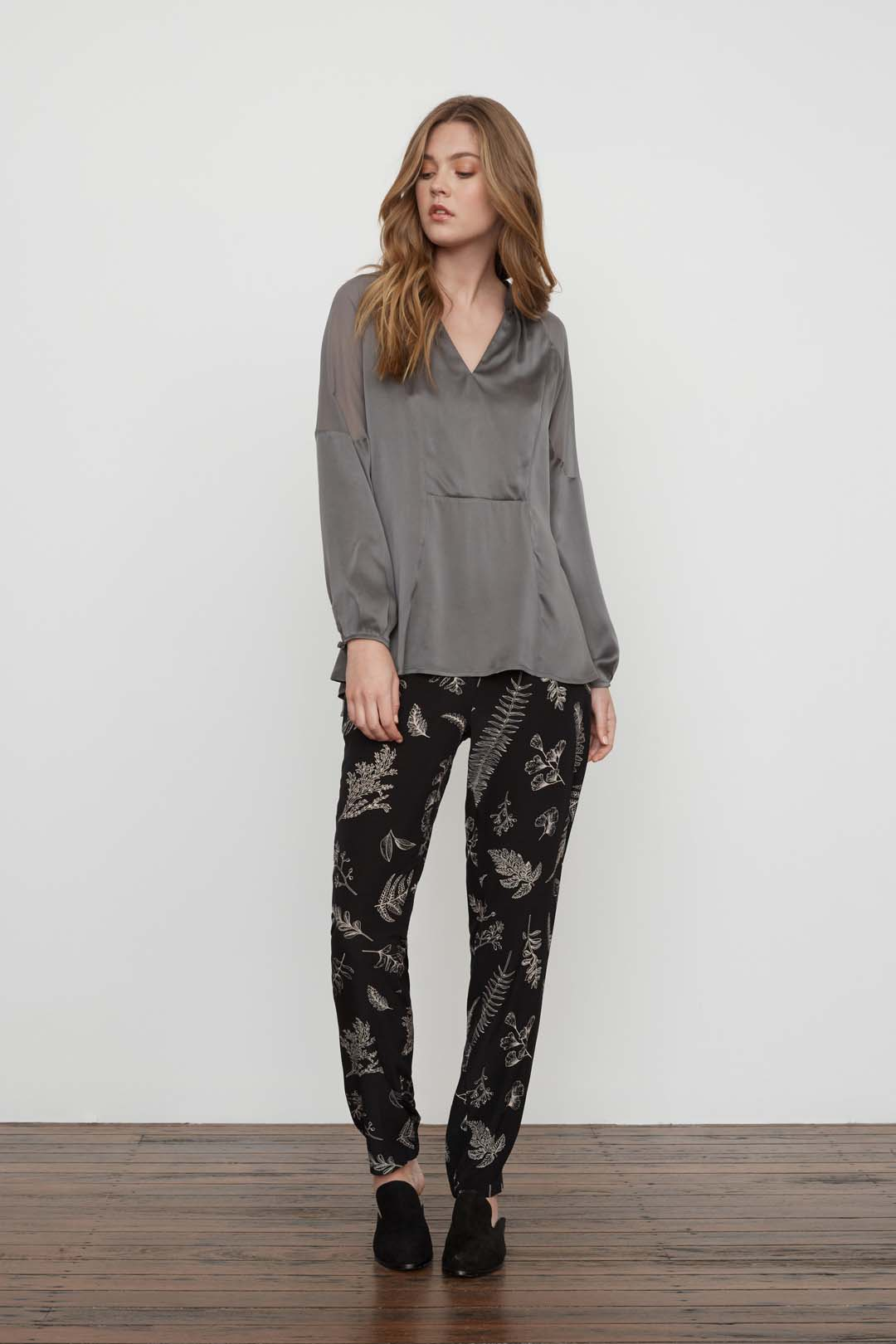EdgeLand Silk Blouse - Grey