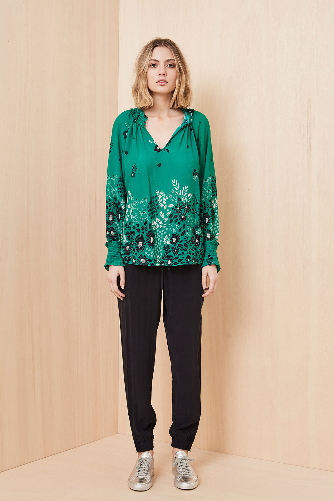 Avalon Petalled Blouse - Green